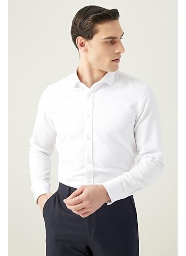 Tween Slim Fit Armürlü Gömlek Beyaz